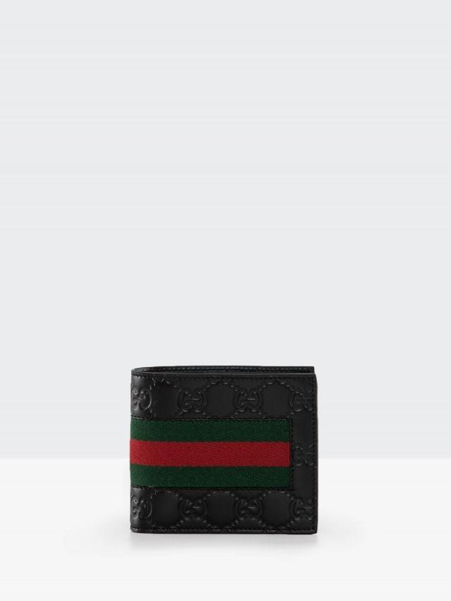 GUCCI Signature 系列 GG 印花綠紅綠織帶小牛皮零錢袋折疊短夾 - 黑