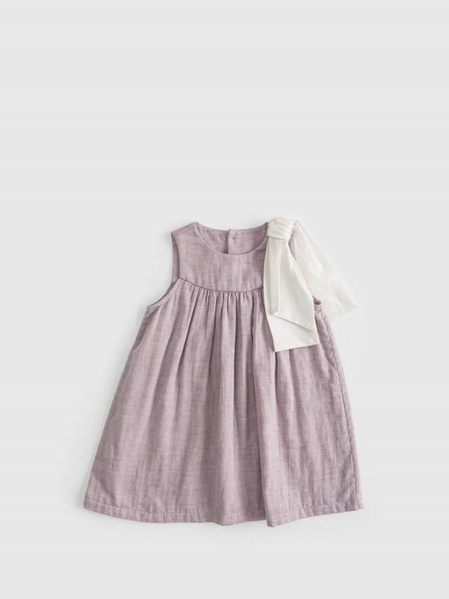 baby baby cool 經典大蝴蝶結洋裝 - 紫