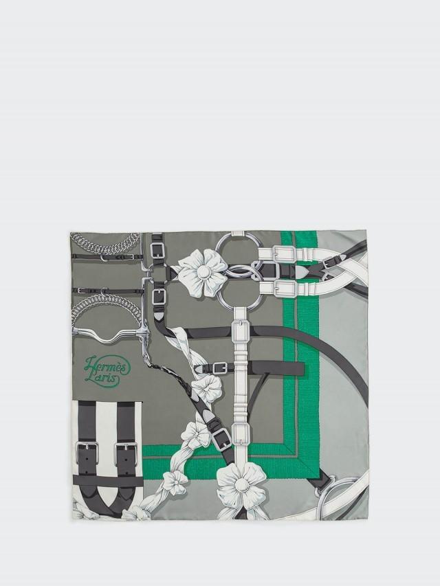 HERMÈS Grand Manège Détail 斜紋真絲方巾 - 灰 x 白 x 薄荷綠