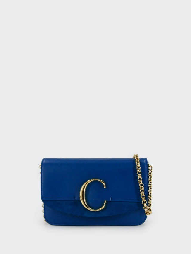 Chloé C Bag 金釦小牛皮手拿 / 鍊帶包 x 藍色