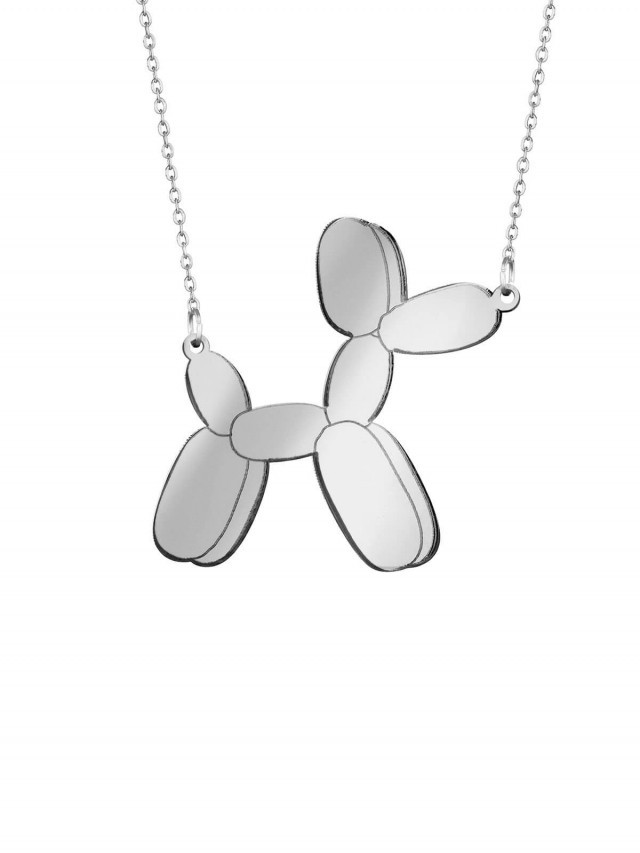 MONOLAMA 鏡面反光材質氣球狗項鏈 - 銀色