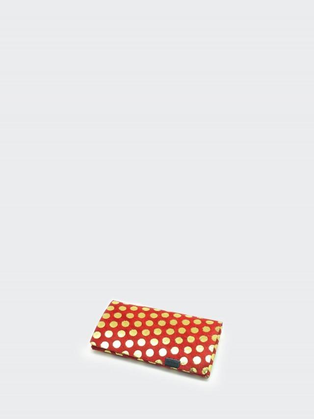 Shosa 所作 名片夾 / 卡夾 - 波卡圓點款 - 紅金點