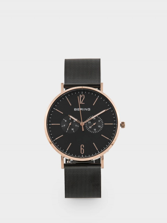 BERING 丹麥手錶雙眼日期顯示系列 - 40 mm  / 銀 x 黑色真皮錶帶套組