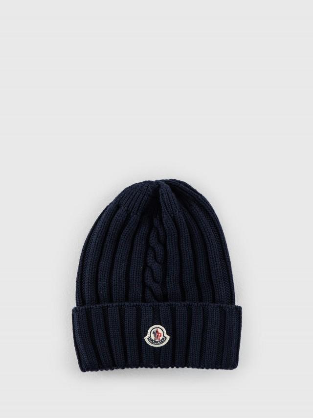 MONCLER 經典品牌 LOGO 羊毛針織毛帽 - 深藍