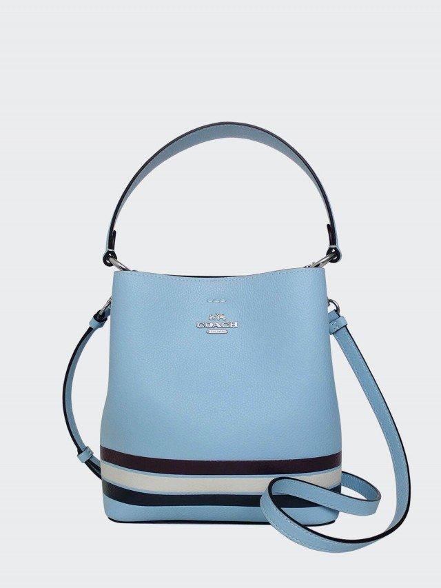 COACH 水藍全皮三色條紋雙層肩背 / 斜背小款水桶包