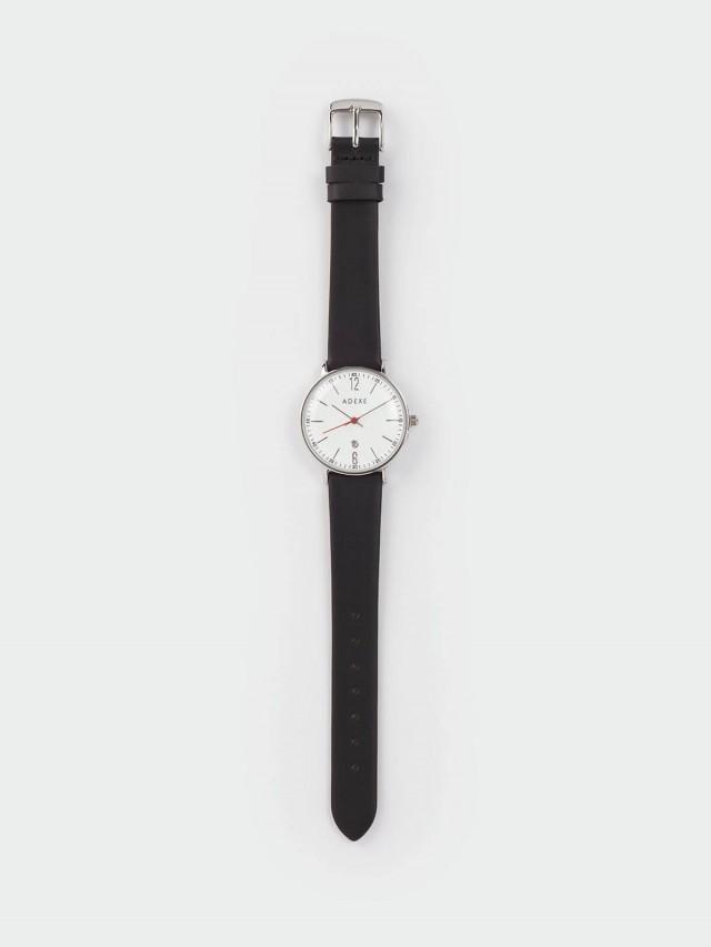 ADEXE MAC 日期顯示系列 白錶盤 x 銀錶框 x 皮革錶帶 32.5 mm