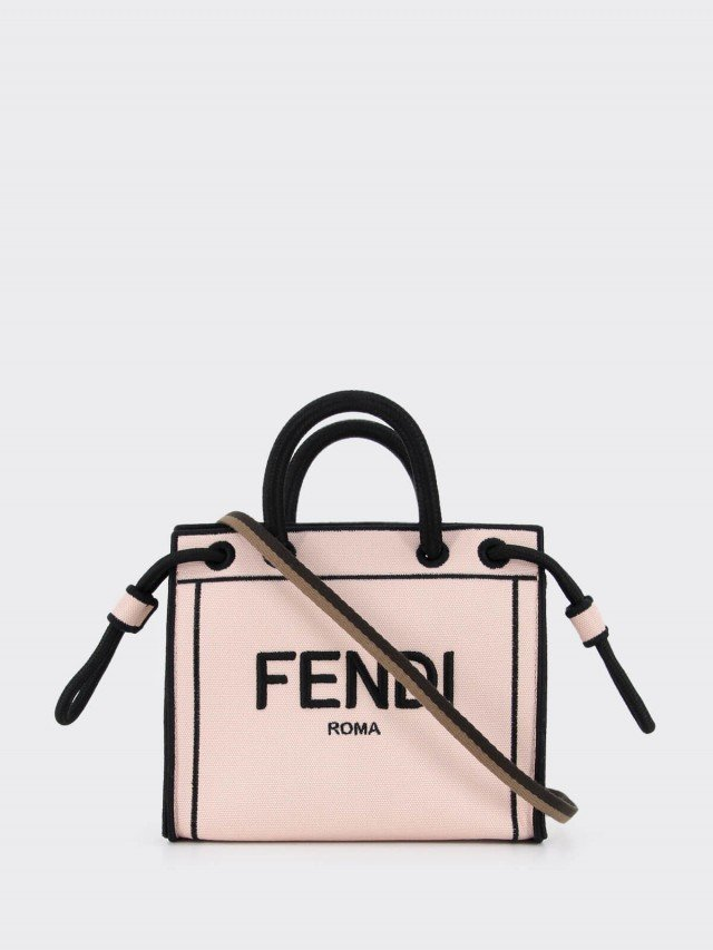 FENDI 刺繡 FENDI ROMA 帆布手提 / 斜背包 - mini x 霧粉紅