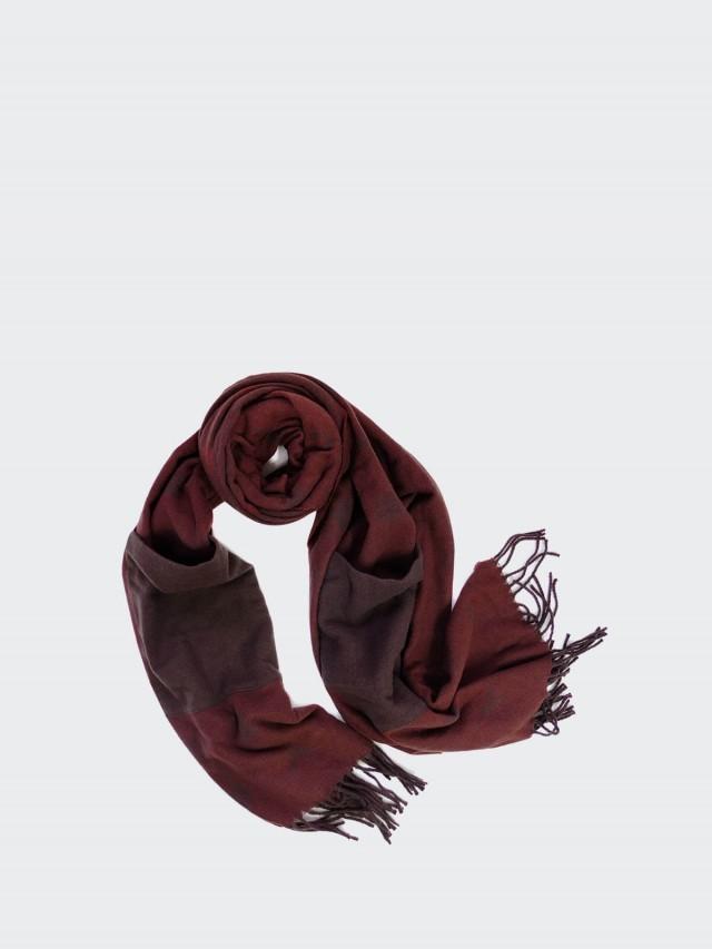 COACH 羊毛披肩雙口袋套手長圍巾 x 酒紅色