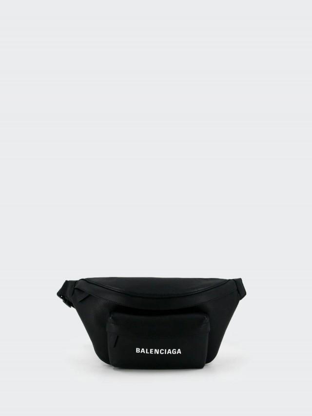 BALENCIAGA EVERYDAY 系列牛皮 LOGO 腰包 / 斜背包 x 黑色