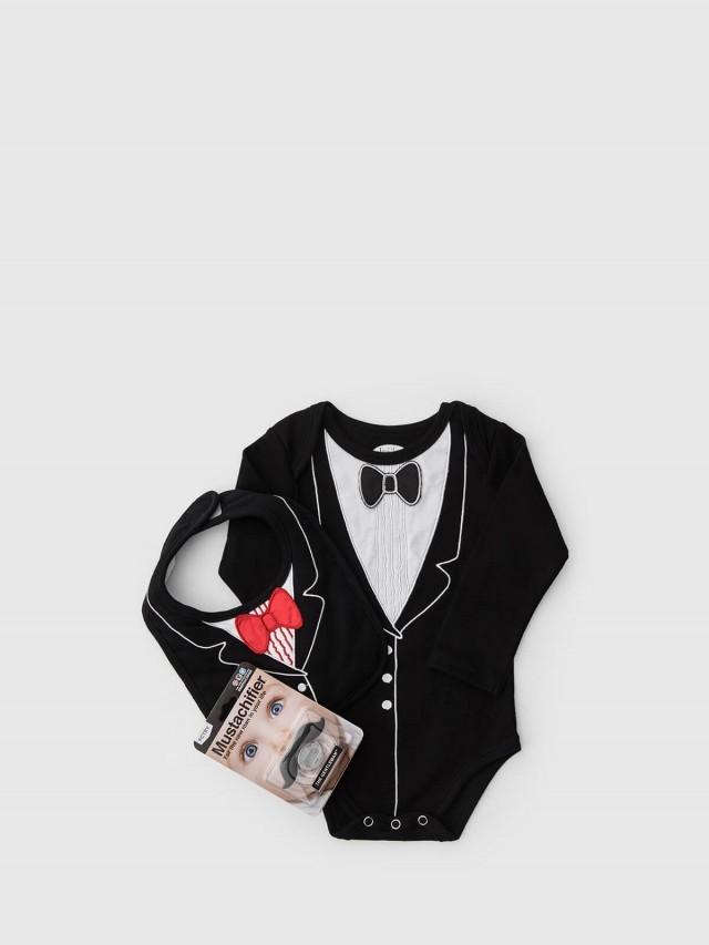 Frenchie mini couture FMC X Mustachifier 男嬰禮盒組 - 李傲納多宴會版 / 長袖