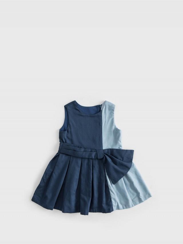 baby baby cool 拼色腰結洋裝 - 藍