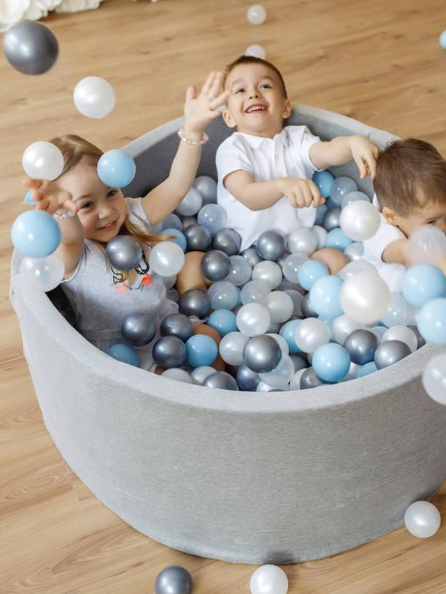 Misioo 遊戲球池 - 100 x 40 淺灰