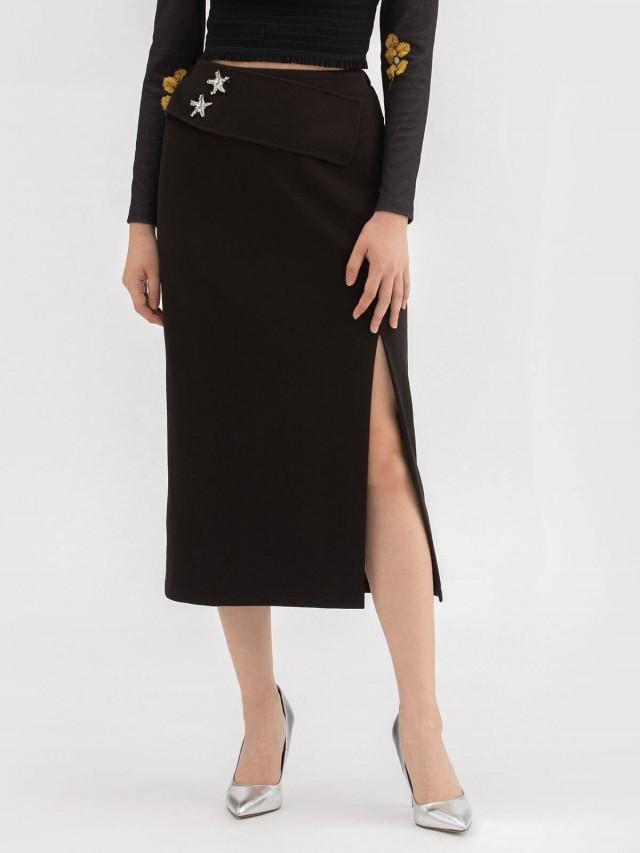 LABRIELLS 釘珠墨黑開岔長裙