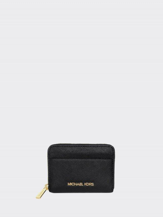 MICHAEL KORS 黑色防刮皮革拉鍊雙層卡夾零錢包