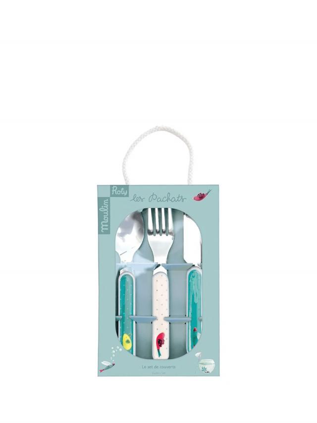 Moulin Roty 帕奇安全快樂餐具禮盒組 ( 刀、叉、湯匙三件組 )