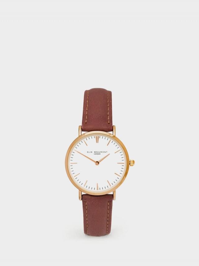 ELIE BEAUMONT 牛津系列 白 x 暗玫紅錶帶 x 玫瑰金框 33 mm