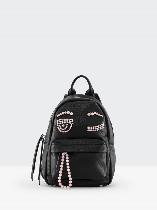 CHIARA FERRAGNI 粉紅珍珠眨眼造型雙拉鍊手提/後背包 - 小 / 黑