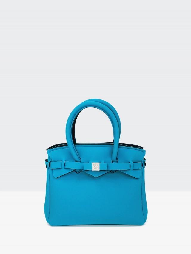 SAVE MY BAG Miss 系列簡約輕量防水托特包 - 孔雀藍 ( 小 )