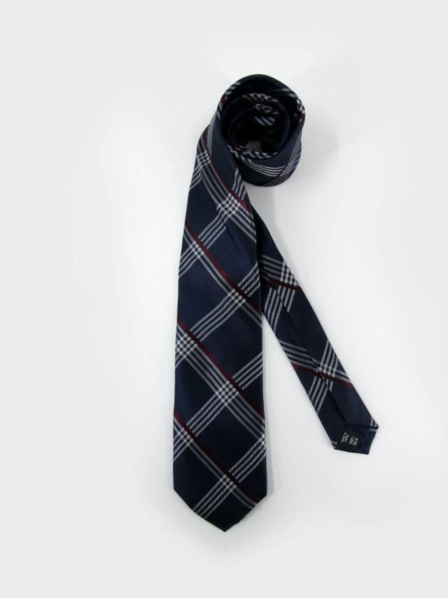 MICHAEL KORS 藍格紅白斜紋紳士領帶