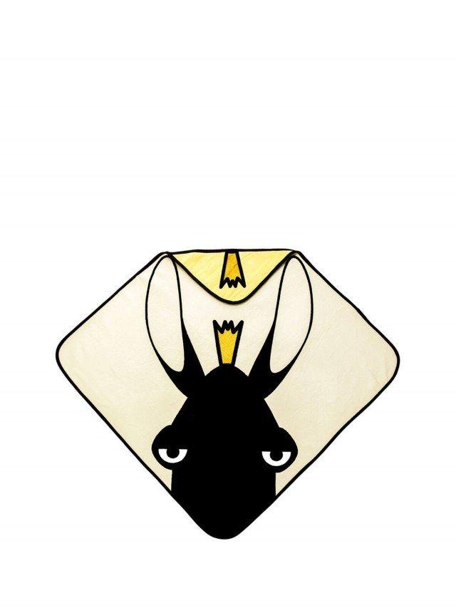 baby Livia 連帽有機棉浴巾 - 麋鹿 x 米色