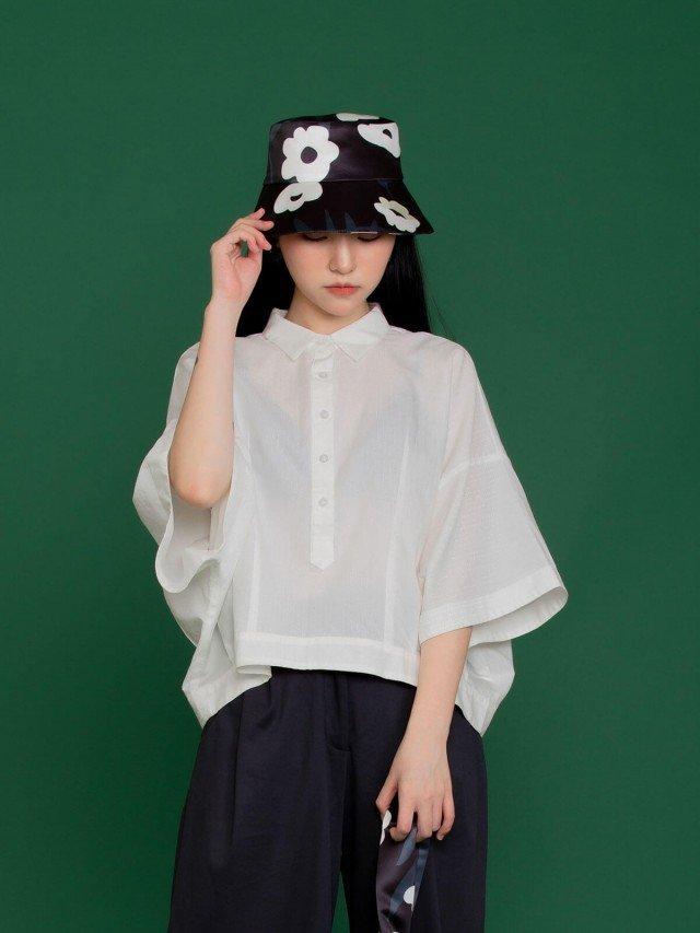 SEW INCORPORATION 繁花緞面印花漁夫帽 - 黑白色