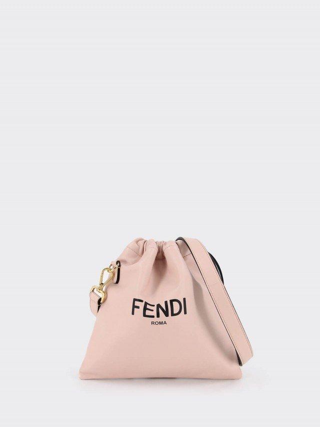 FENDI Packaging 系列柔霧粉納帕皮革購物袋束口小款肩背包