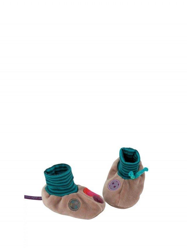 Moulin Roty 喬麗絲粉灰綠男寶寶專用保暖鞋套禮盒 0 - 6 個月