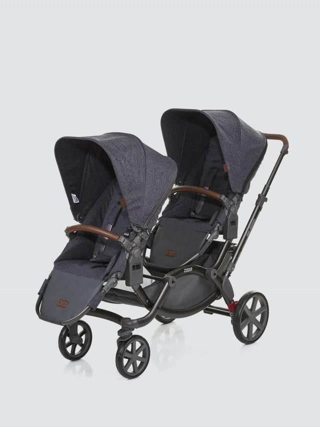 ABC Design ZOOM 嬰兒雙人推車 - 高階皮革版 / 尊爵灰