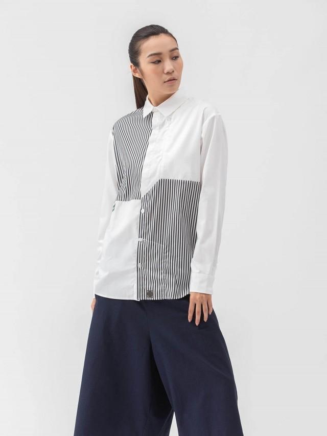 WEAVISM 【斜線陣】對角條紋拼接襯衫 - 黑白條