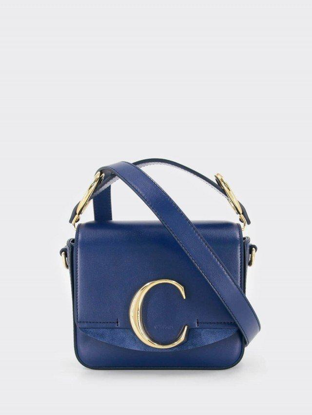 Chloé mini C bag 金屬 LOGO 撞色滑面皮革手提 / 肩背方包 x 寶藍