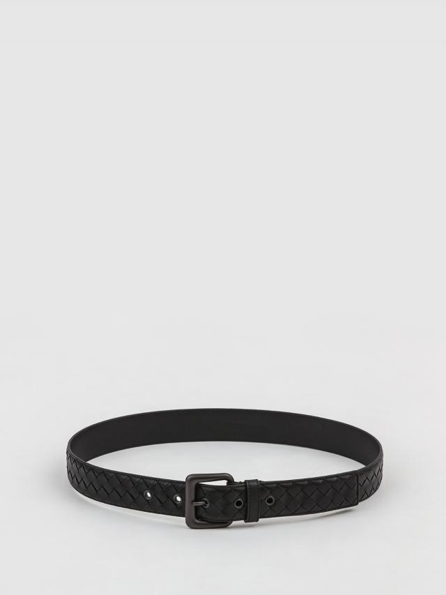 BOTTEGA VENETA 經典編織小牛皮寬版腰帶 / 皮帶 - 35mm / 深灰