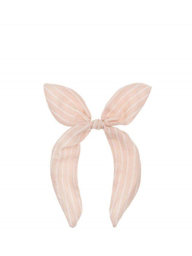 MIMI & LULA 粉紅條紋立體蝴蝶結髮圈