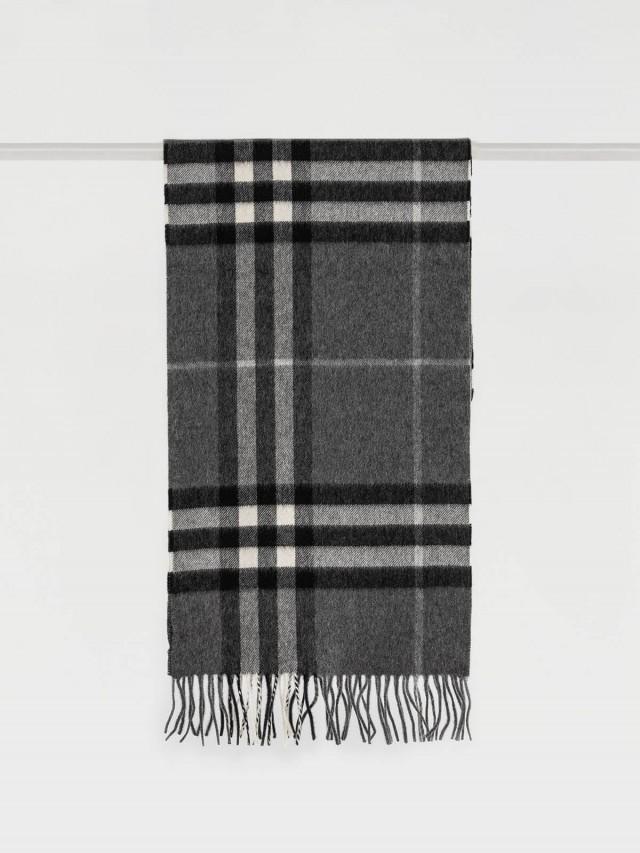 BURBERRY 格紋經典喀什米爾圍巾 - 深灰
