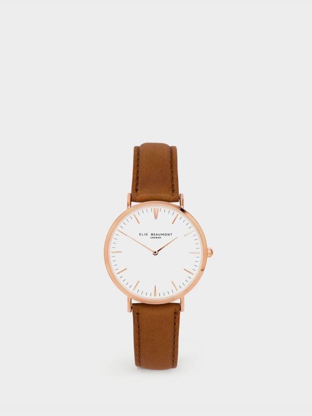 ELIE BEAUMONT 牛津系列 白錶盤 x 棕色皮革錶帶 x 玫瑰金錶框38 mm