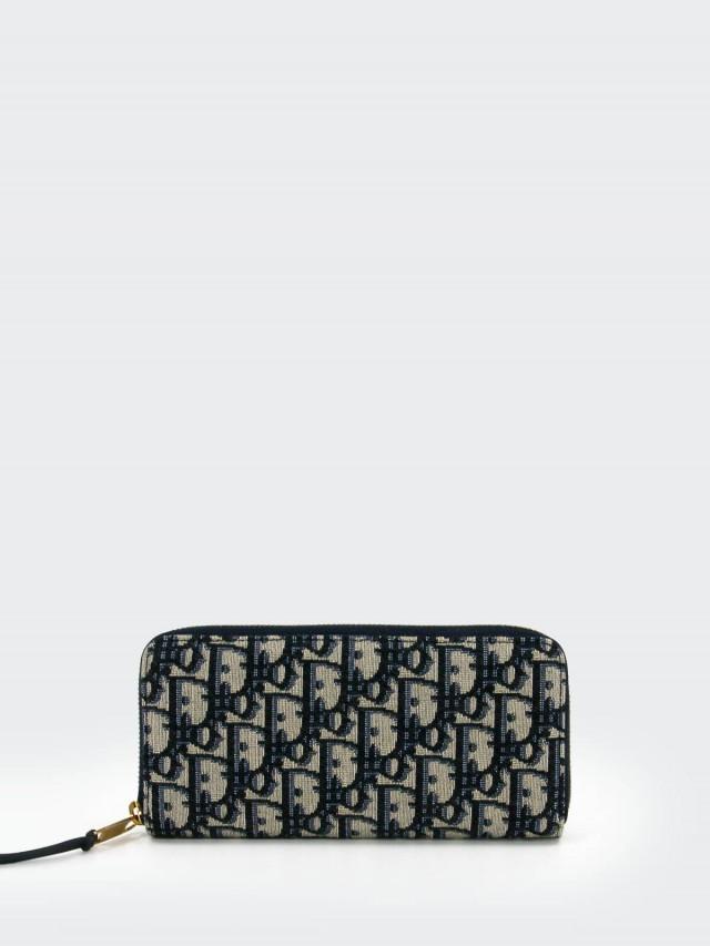 Dior Oblique 藍色緹花帆布 voyageur 拉鍊長夾