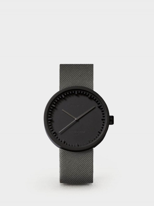 LEFF amsterdam tube 北歐工業齒輪設計尼龍 X 小牛皮腕錶 42mm - 霧黑錶盤 /  灰色尼龍錶帶