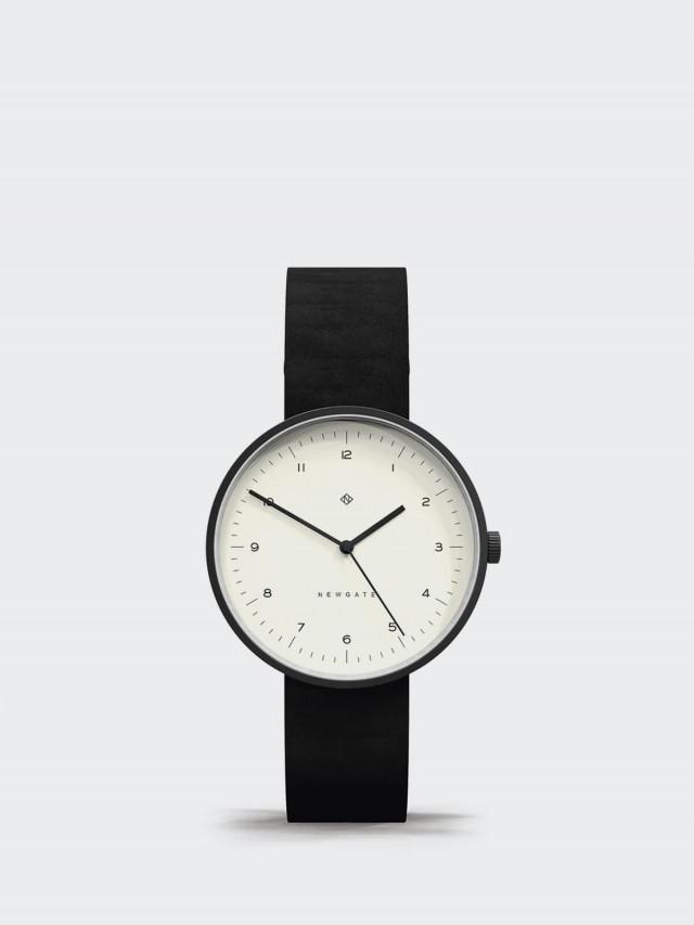 NEWGATE DRUMLINE - 皮革錶帶 - 經典數字 - 復古白 / 40mm