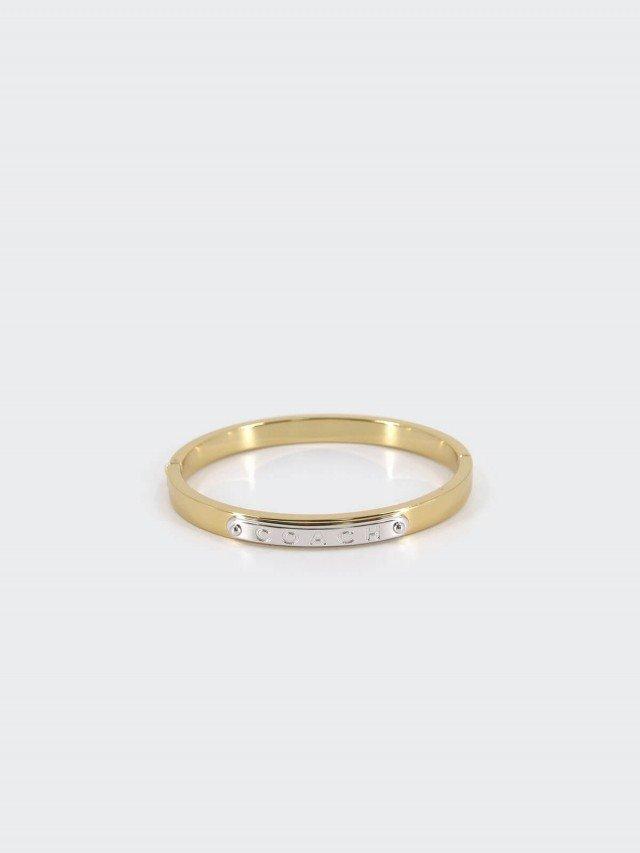 COACH 金色精鍍銀牌細版夾式手環