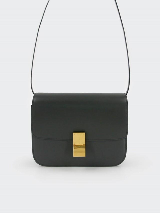 CELINE CLASSIC BOX 滑面牛皮金釦肩揹 / 斜揹包 - 中 x 碳灰色