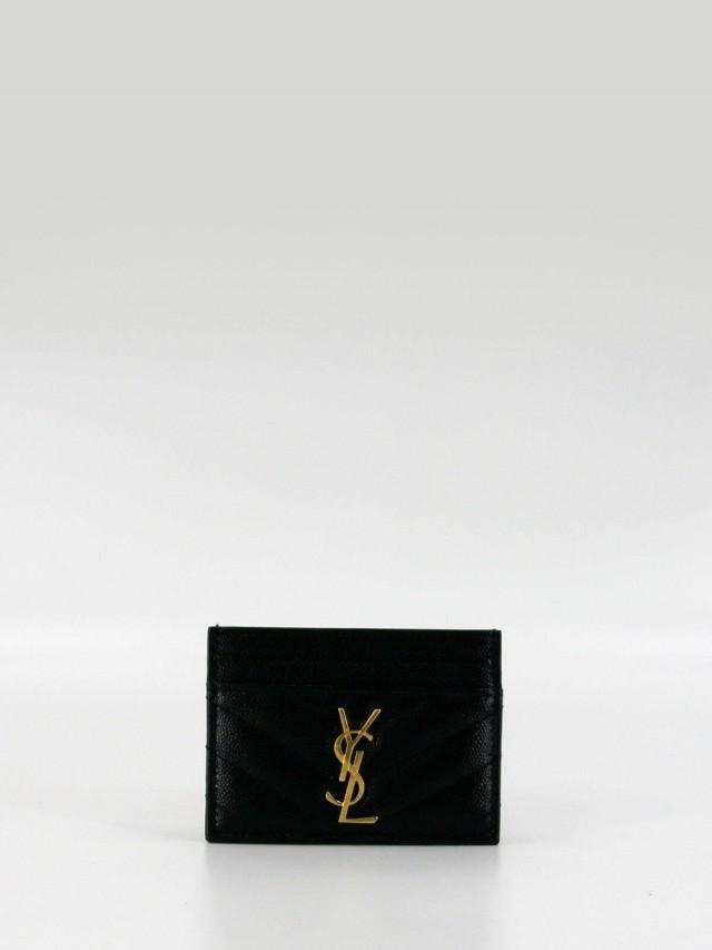 Saint Laurent MONOGRAM 系列 V 字縫線魚子醬牛皮金釦名片夾 x 黑色
