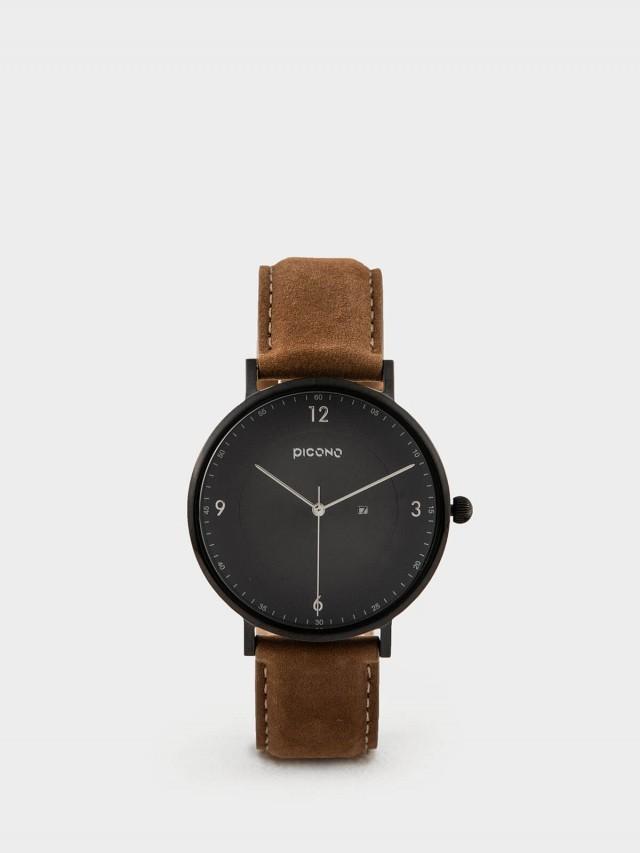 PICONO VINYL - 系列 輕薄真皮錶帶手錶 - 黑 / 黑
