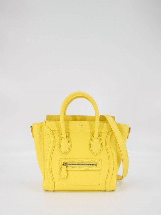 CELINE Nano Luggage 荔枝紋牛皮金釦手提冏包 x 檸檬黃