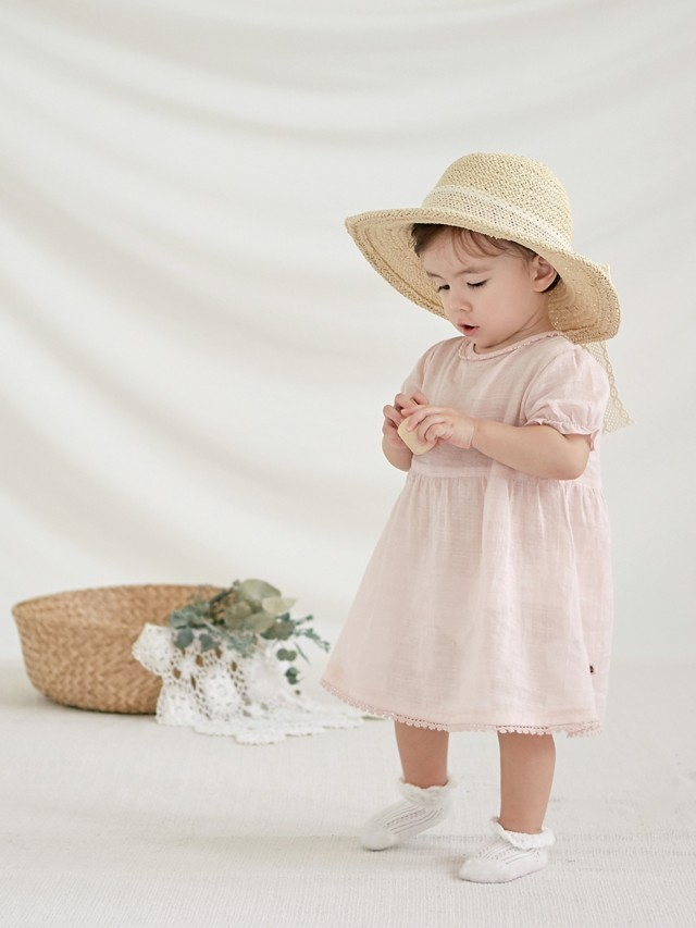 HAPPY PRINCE Happy Prince Torchon 蕾絲緞帶女嬰童遮陽草帽 - 淺米