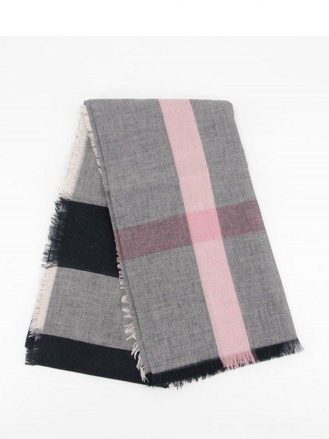 BURBERRY 經典格紋流蘇方形羊毛混紡圍巾 / 粉灰色 - ( 140 x 140 )
