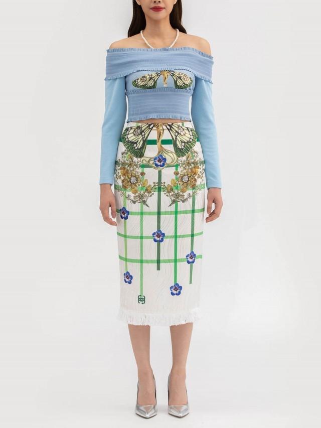 LABRIELLS 網狀花瓣印花鉛筆裙