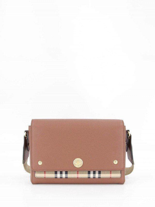 BURBERRY 皮革與 Vintage 格紋 Note 斜背包