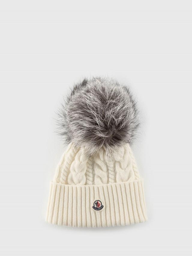 MONCLER 經典品牌 LOGO 羊毛針織貂毛灰色絨球毛帽 - 白