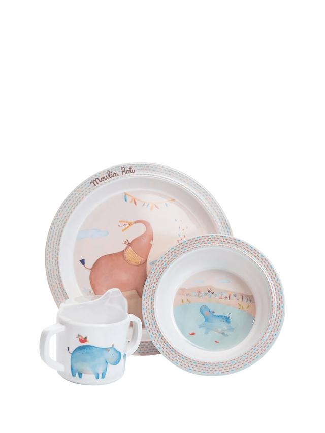 Moulin Roty Papoum 寶寶安全杯盤禮盒組 ( 盤、碗、杯三件組 )