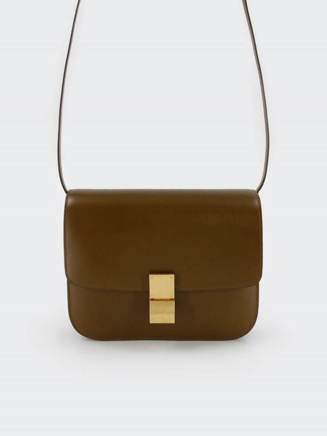 CELINE CLASSIC BOX 滑面牛皮金釦肩揹 / 斜揹包 - 中 x 駝色