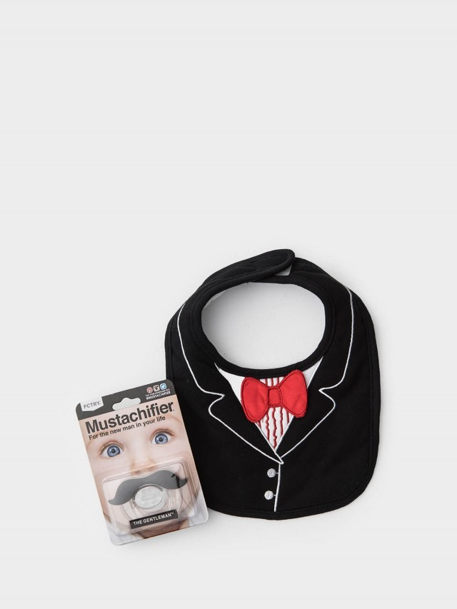 Frenchie mini couture FMC X Mustachifier 男嬰禮盒組 - 紳士寶寶 2 件組 / 燕尾服紅領結